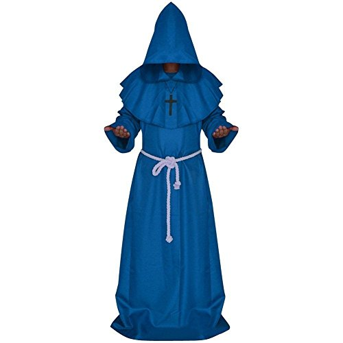 Druid Cloak Costume (Church High Priest Monk Druid Costume Halloween Party Dress Medieval Hooded Cloak Monk Priest Robe Tunic Blue, Small)