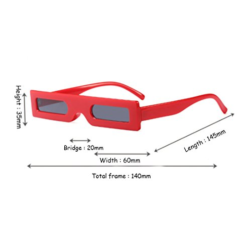 Retro de sol Frame Gafas Retro Resin Huicai Gris Rojo Square Slender Small Resin Fashion Sunglasses Lens 5w8PEq