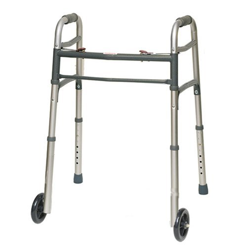 ProBasics 2 Button Folding Walker with 5'' Wheels (Traditional Grey) by ProBasics