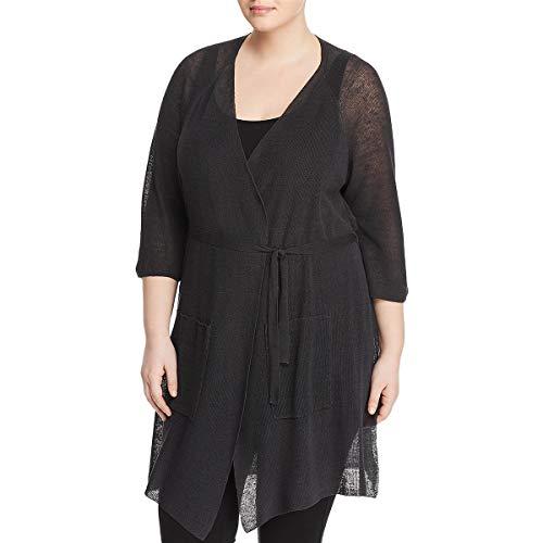 Eileen Fisher Womens Plus Linen 3/4 Sleeves Cardigan Sweater Black 1X