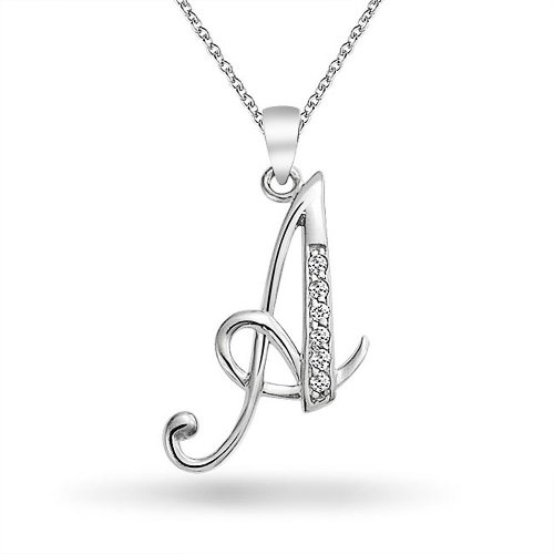 Bling jewelry cz cursive alphabet letter a pendant rhodium plated bling jewelry cz cursive alphabet letter a pendant rhodium plated necklace 16 inches amazon jewellery mozeypictures Choice Image