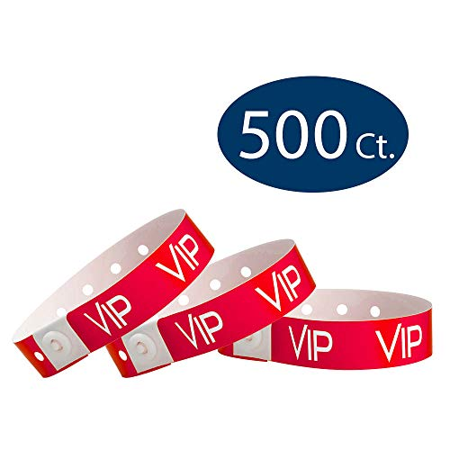 (WristCo Neon Red VIP Plastic Wristbands - 500 Pack Wristbands for Events)