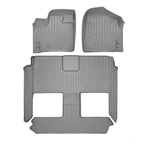 SMARTLINER Floor Mats 3 Row Liner Set Grey for 2008-2018 Dodge Grand Caravan / Chrysler Town & Country (Stow