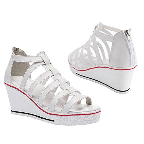 Sandales de pour Ouvert Talon Compensé Femme 8cm à Eté Bout Montantes Qimaoo Chaussures R6OdZxqRn