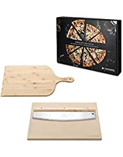 """Navaris Pizza Stone Set (3 Pieces) - for Grill and Oven - Includes Rectangular Cordierite Pizza Stone 14.8"""" x 11.8"""", Pizza Cutter Rocker, Pizza Peel"""