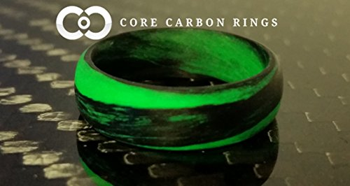 - Men's or Women's Carbon Fiber Green Marbled Glow Ring - Handcrafted - Black and Green Glowing Band - Custom Band widths