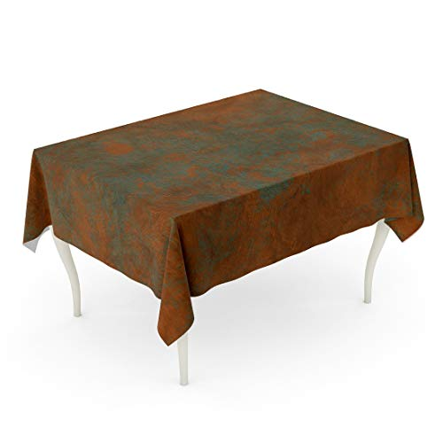 (Tarolo Rectangle Tablecloth 60 x 102 Inch Brown Aged Brass Copper Bronze Light Green Patina and Empty Place Orange Wall Vintage Antique Table Cloth)