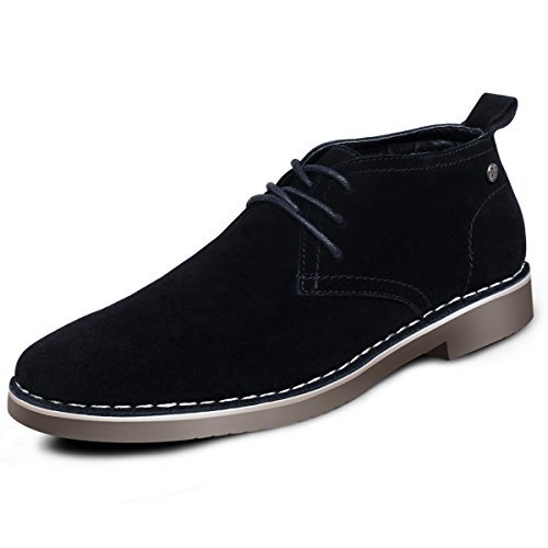 - Suede Chukka Boots for Men-Genuine Leather Lace Up Desert Boots Ankle Dress Boots Stylish Casual Shoes Black 11 D (M) US