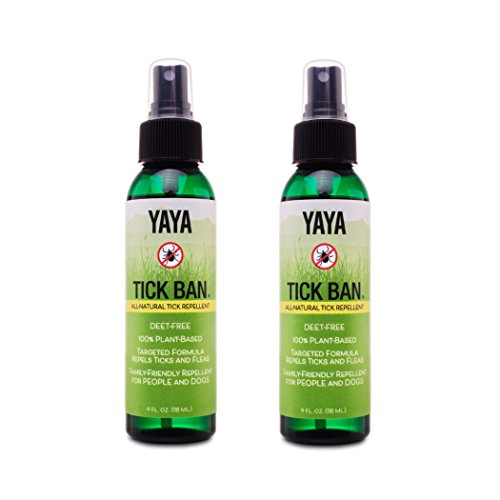 TICK BAN Yaya Organics Extra Strength Tick Repellent Made with Essential Oils and All Natural, DEET Free Ingredients | Proven Effective, Safe for Adults, Kids, Dogs, Horses | 4 Ounce 2 Pack ()