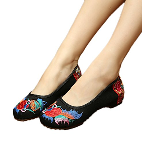 AvaCostume Women's Embroidery Goldfish Oxfords Sole Dance Shoe, Casual Size 40 Black