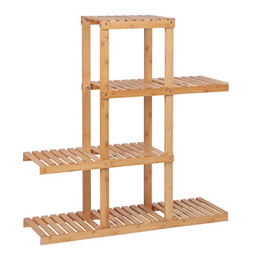 SONGMICS Bamboo Wood Plant Stand Shelf Flower Pots Holder Display Rack Utility Shelving Unit Storage Rack for Living Room Balcony Hallway Bathroom Natural BCB91N (Flower Carts Wooden)