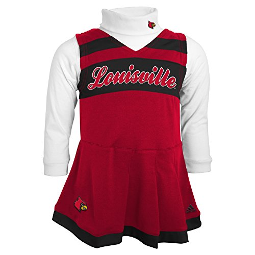 Outerstuff NCAA Louisville Cardinals Toddler Turtleneck Cheer Jumper Dress, 4 Tall, University Red