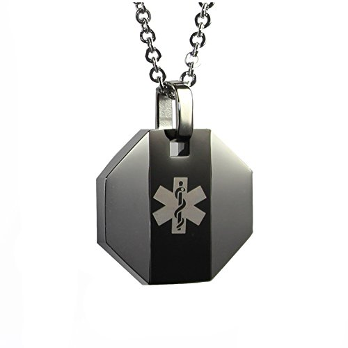 My Identity Doctor USA | Medical Alert Necklace with Pendant | Free Custom Engraving for Diabetes Warfarin Dialysis Stroke Pacemakers | Black Stripe 22in (56cm) Chain ()
