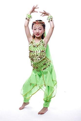 Green Belly Dance Costume - Astage Girls Oriental Belly Dance Sets Costumes All accessories Green S(Fits 3-5 Years)