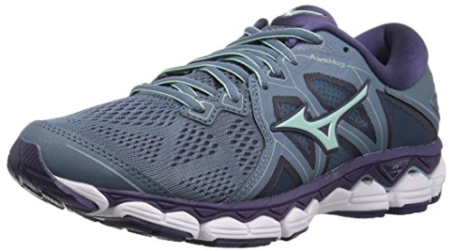 Mizuno Women's Wave Sky 2 Running Shoe, Blue Mirage/Purple Plumeria, 10 B US
