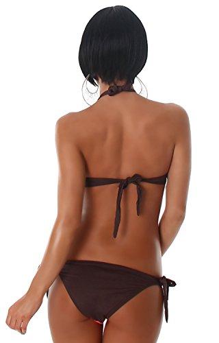 ESTHER QUEEN - Conjunto - cuello hálter - Rayas - para mujer apricot braun
