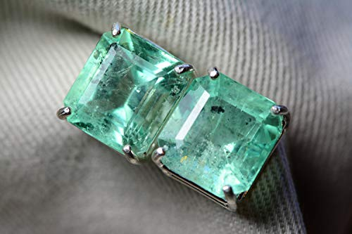- Colombian Emerald Earrings, 10.02 Carat Certified Natural Studs, Sterling Silver Princess Cut Real Genuine Green May Birthstone Jewelry EE35