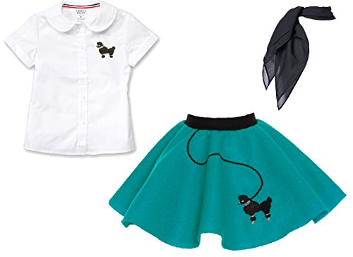 Toddler 3 Piece Poodle Skirt Costume Set Teal 3T