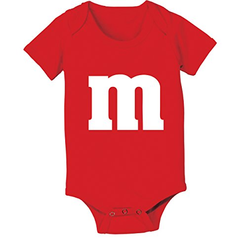 M Candy Costume Cute Halloween Outfit Group Kids Children Humor Baby One Piece Newborn Red