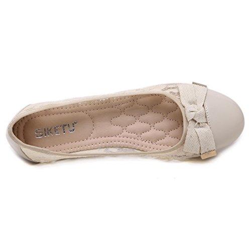 femmes bout Chaussures à plates et avec Chaussures pour VogueZone009 ornement dentelle fermé Abricot qHFCXxxgw