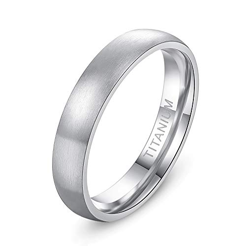 TIGRADE 6mm/8mm Men's Titanium Ring Brushed Dome Wedding Band Comfort Fit Size 4-14 (4mm, 8)