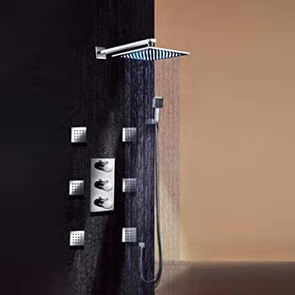 bathroom shower faucets. Sprinkle Wall Mounted Thermostatic Shower Faucet Set, LED 7 Colors Rainfall Head And Spa Bathroom Faucets V