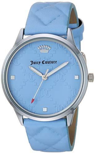 (Juicy Couture Black Label Women's JC/1081LBLB Silver-Tone and Light Blue Quilted Leather Strap Watch)