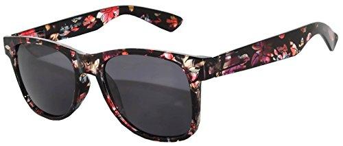 Retro 80's Vintage Sunglasses Colored Frame Smoke Lens Owl Brand (new_retro_smoke_flower_black, - Glasses Flower Brand