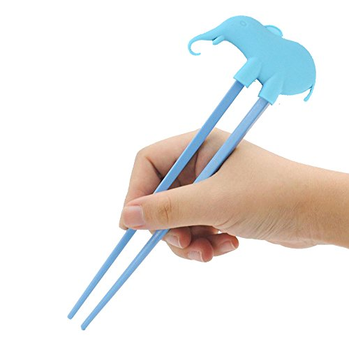 Baby Children Beginner Learning Traning Helper Chopsticks Right Handed with Elephant Doll (Blue)
