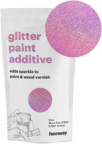 Hemway MICROFINE Glitter Paint Additive Emulsion Water Based Paints 100g (Pink Holographic) ()