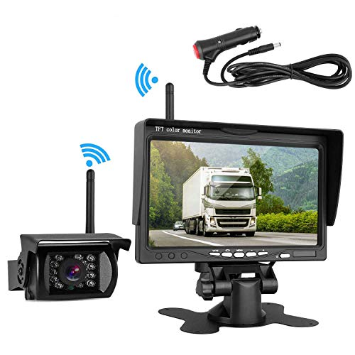Wireless Backup Camera And 7″ HD LCD Monitor Kit For RV/SUV/Van/Pickup/Truck/Trailer Rear/Side/Front View System Switchable Built in Reverse Camera Grid Lines ON/Off with IP69K Waterproof Night Vision