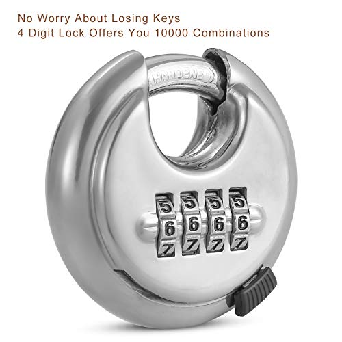 4 Digit Combination Disc Padlock with Hardened Steel Shackle Outdoor Combo Gate Lock for Sheds, Storage Unit, Garage, Fence,Trailer Tongue (2 Pack)