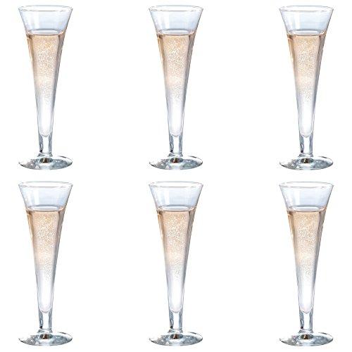 Durobor Royal Trumpet Champagne Flutes, 160ml - Set of 6 Glasses