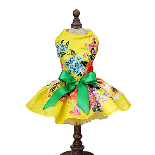 Tiny Dog Summer Dress , Small Pet Princess Dress Sleeveless Skirt Bowknot Dress Cat Puppy