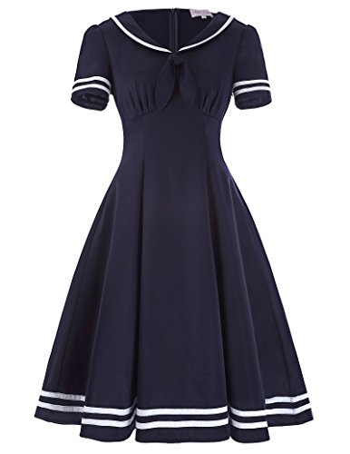 Belle Poque Womens Lapel Collar Retro Sailor Pin up Gown Mini Dress BP266-1 XL Navy Blue -