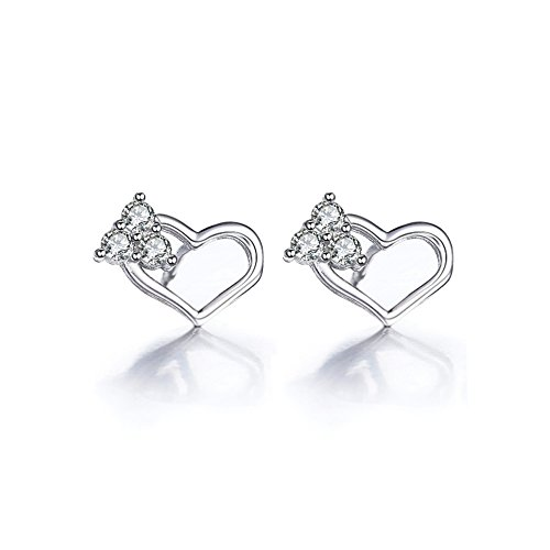 The November Nocturne Silver Plated Hollow out the Heart Lover Zircon Studded Earring ()