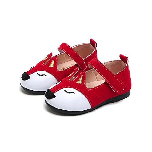 - Hemlock 1-6 Years Old Girl Flat Shoes Fox Ballerina Sandals Princess Dress Shoes Baby Soft Sandals (6 years old, Red)