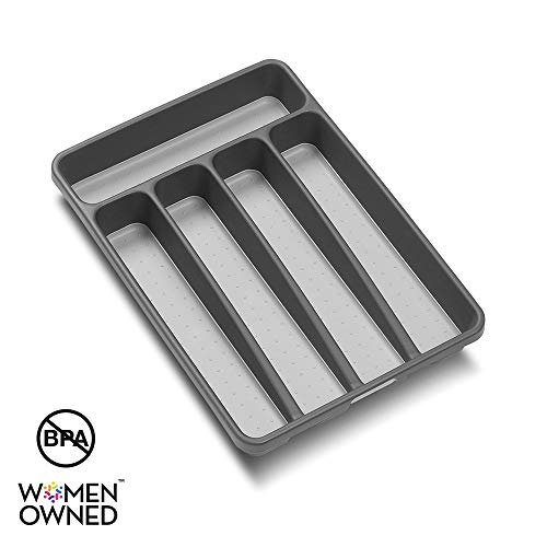 madesmart Classic Mini Silverware Tray - Granite | CLASSIC COLLECTION | 5-Compartments | Kitchen Organizer |Soft-grip Lining and Non-slip Rubber Feet | BPA-Free