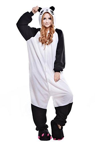 NEWCOSPLAY Unisex Adult Panda One- Piece Cosplay Animal Pajamas Halloween Costume (L) White