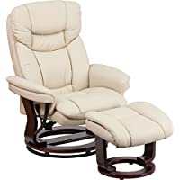 Judek Contemporary Black Leather Recliner/Ottoman with Swiveling Mahogany Wood Base (Beige)