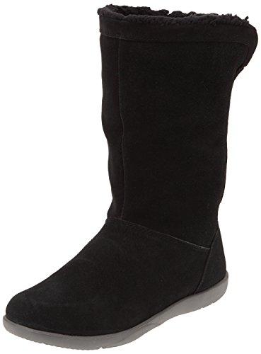 Crocs Adela Fuzz Bootie Femme W Noir black Foldover charcoal Bottes Mollet Mi fUqrpf