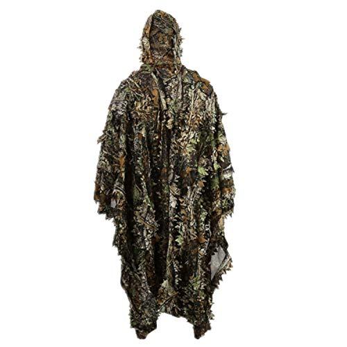 Zicac Outdoor 3D Leaves Camouflage Ghillie Poncho Camo Cape Cloak Stealth Ghillie Suit Military CS Woodland Hunting Poncho - Camouflage Woodland Suit