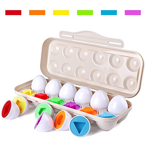 (Tinabless Learn Color & Shape Match Egg Set - Toddler Toys - Color Matching Egg Set - Educational Toys for 18 Months Baby and)