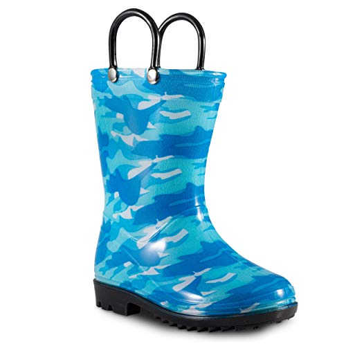 - ZOOGS Children's Rain Boots with Handles, Little Kids & Toddlers, Boys & Girls, Blue (Camo), US 1Y