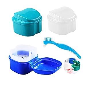 4 Pezzi Scatola per Protesi Dentarie con Spazzolino di Pulizia (3+1), AUHOTA Contenitore per Denti Falsi con Filtro da…