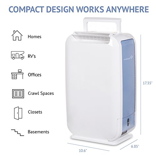 Ivation 13-Pint Small-Area Desiccant Dehumidifier Compact and Quiet - With Continuous Drain Hose for Smaller Spaces, Bathroom, Attic, Crawlspace and Closets - For Spaces Up To 270 Sq Ft, White