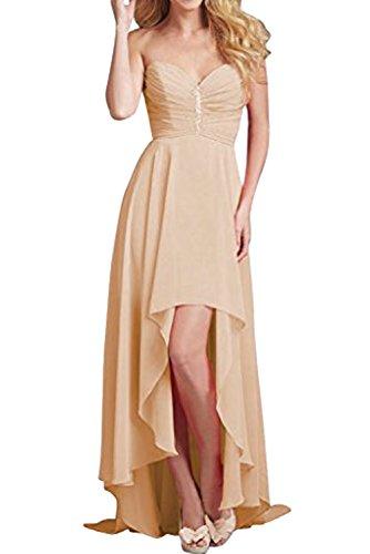 Damen Abendkleid Bildfarbe Ivydressing Rueckenfrei Herzform Ballkleid aermellos Partykleid Chiffon Lo zaertlich Hi Strass Sqrwdzq