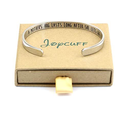Joycuff Mom Bracelet Gift for Mother's Day Mantra Cuff Bangle Bracelet (A Mother's Hug Lasts After she Lets go)