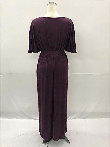 Uni Manches Couleur Robe au Bigood Courtes Souple V Femme Lache Violet Col Maxi Lacet CEqxPwtRx