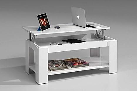 Tavolo Da Lavoro Sollevabile : Tavolino da caffè sollevabile colore: bianco brillante con porta